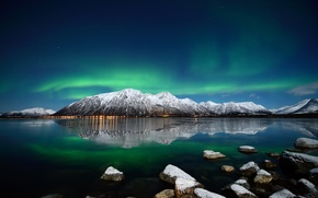 Picture ice, winter, water, snow, mountains, night, stones, Northern lights