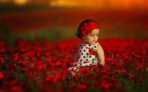 Wallpaper girl, flowers, bokeh, mood, Maki, headband