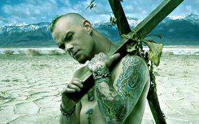 Picture Punk, Landscape, Five Finger Death Punch, Mountains, Desert, Tattoos, Bracelets, Cross, Ivan Moody, Vocalist Rook …