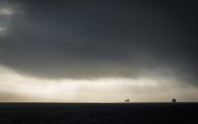 Picture sea, landscape, fog, ships