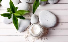 Picture stones, cream, Spa, salt