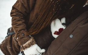 Picture winter, girl, snow, love, girl, love, guy, heart, winter, mittens, snow, together, family, Siberia, seruku, …