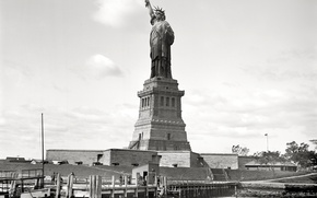 Picture retro, New York, USA, The Statue Of Liberty, 1905-th year