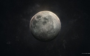 Picture space, stars, rendering, the moon, craters
