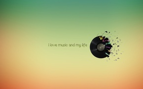 Wallpaper color, record, I love music and my life