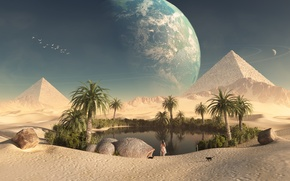 Picture girl, cats, desert, planet, oasis