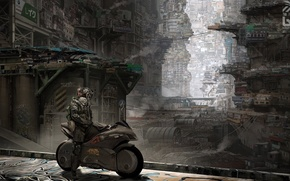Picture the city, fiction, robot, motorcycle, bike, cyborg, cyberpunk, slums