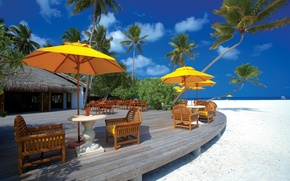 Picture sand, beach, clouds, trees, yellow, nature, house, palm trees, umbrella, the ocean, Paradise, chairs, plants, …