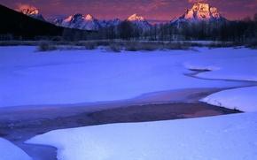 Wallpaper winter, snow, mountains, stream