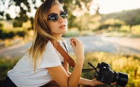 Picture summer, girl, camera, glasses, the camera