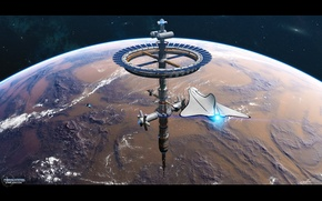Picture space, planet, stars, flight, space station, Phoenix Station