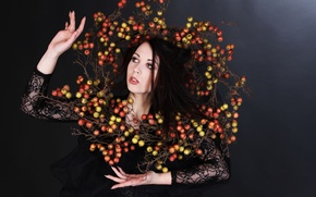 Picture girl, background, black, the fruit, Untitled