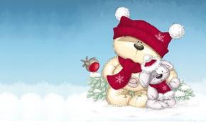 Wallpaper winter, snow, mood, gift, toy, bear, New year, bird, Bunny, children's, a celebration
