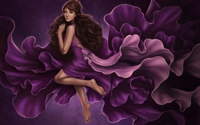 Picture girl, flowers, background, dress, art
