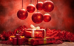 Picture balls, red, holiday, new year, Christmas, Candles