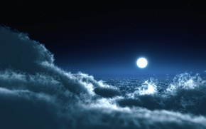 Picture the sky, clouds, night, photo, the moon, landscapes