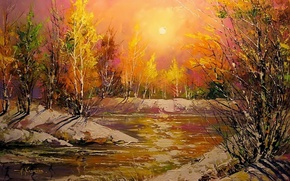 Picture landscape, river, picture, spring, the evening, morning, painting, impressionism, Khodukov, the last snow