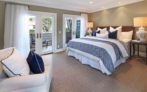 Picture design, bed, interior, pillow, lamp, mansion, Design, bedroom, Interior, Bedroom