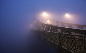 Picture light, night, the city, fog, photo, lamp, bridges