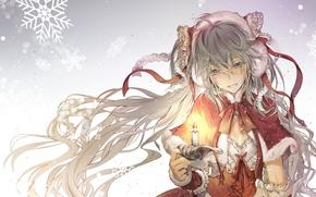Wallpaper hatsune miku, holiday, kingchenxi, art, winter, tape, anime, candle, girl, vocaloid