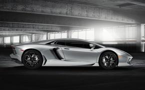 Picture the building, Lamborghini, silver, Blik, Lamborghini, LP700-4, Aventador, Lamborghini, aventador, silvery, LB834