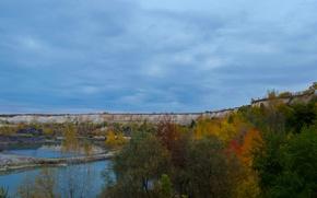 Picture autumn, lake, foliage, Mel, quarry, Belyy kolodets