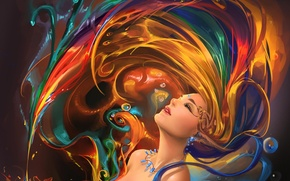 Picture girl, decoration, paint, art, ears, sakimichan