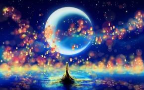 Picture the sky, lights, the moon, silhouette, Rapunzel, lanterns, Princess, Tangled, Rapunzel, fan art, princess, by …