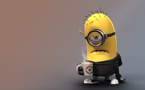 Picture fantasy, yellow, coffee, gloves, Minion, teeth, goggles, sweatpants, salaried, bored, boredom, by floozywhoozy, pencil cup