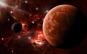 Picture stars, red, Planet