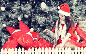 Picture girl, holiday, tree