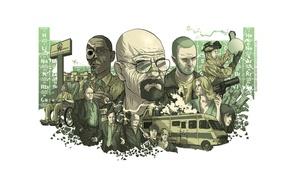 Picture the series, characters, Jesse pinkman, breaking bad, dope, Heisenberg, Walter white, methamphetamine, chemical table