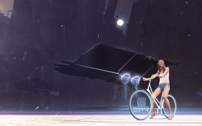Picture girl, bike, the moon, art, glasses, wheel, cyborg