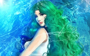 Wallpaper water, girl, green hair, Sailor Neptune, Kaiou Michiru, Bishoujo Senshi Sailor Moon