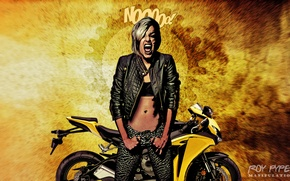 Picture desktop, wallpaper, photomanipulation, babe, biker, bansee