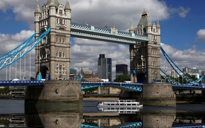 Picture the sky, water, clouds, reflection, England, London, the evening, Europe, UK, Thames, Tower bridge, sky, ...