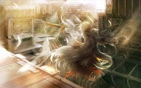 Picture flight, the city, bird, guy, monster, art, kentarou