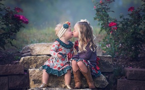 Picture children, girls, sisters, kiss