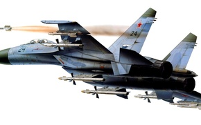 Picture Su-27, art, Russia., the plane, highly maneuverable, fourth, fighter, generation, BBC, OKB, Russian, multipurpose, Dry, ...