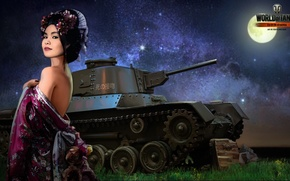 Picture girl, night, the moon, Japan, tank, girl, tanks, WoT, World of tanks, tank, World of ...