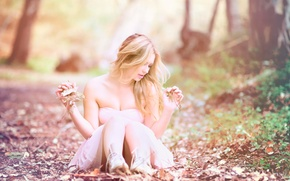 Picture leaves, girl, nature, photo, blur, dress, autumn mood