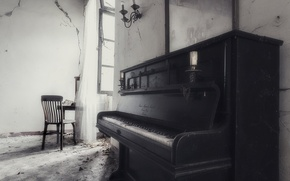 Picture music, chair, piano