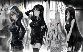 Picture girls, anime, art, hood, horns, ddddddd, kantai collection, ru-class battleship, wo-class aircraft carrier, battleship-symbiotic hime, …