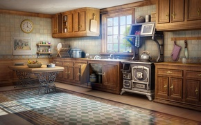 Picture light, room, watch, art, kitchen, table, window
