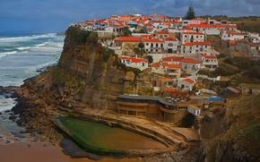 Picture sea, rock, home, Portugal, Lisbon, Azenhas do Mar