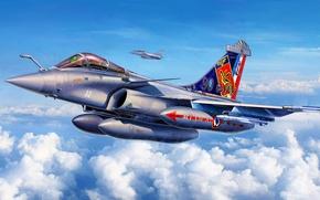 Picture war, art, airplane, painting, aviation, jet, Dassault RAFALE M