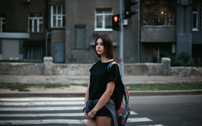 Picture girl, the city, traffic light