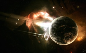 Wallpaper the explosion, planet, the rift, missiles, space
