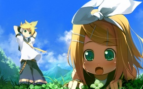 Picture girl, guy, vocaloid, bow, Vocaloid, rin kagamine, Len