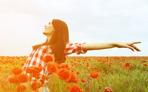Picture flowers, freedom, widescreen, leaves, HD wallpapers, Wallpaper, freedom, leaves, girl, field, Mac, full screen, positive, ...